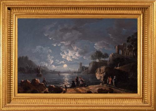 Port in the moonlight, 18th century French school, entourage of Joseph Vernet