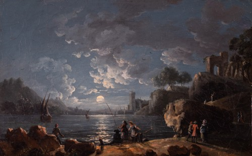 Port in the moonlight, 18th century French school, entourage of Joseph Vernet - Paintings & Drawings Style Louis XV