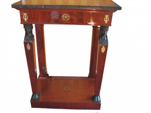 Antiquités - Small mahogany console table - early 19th century, Consulat period