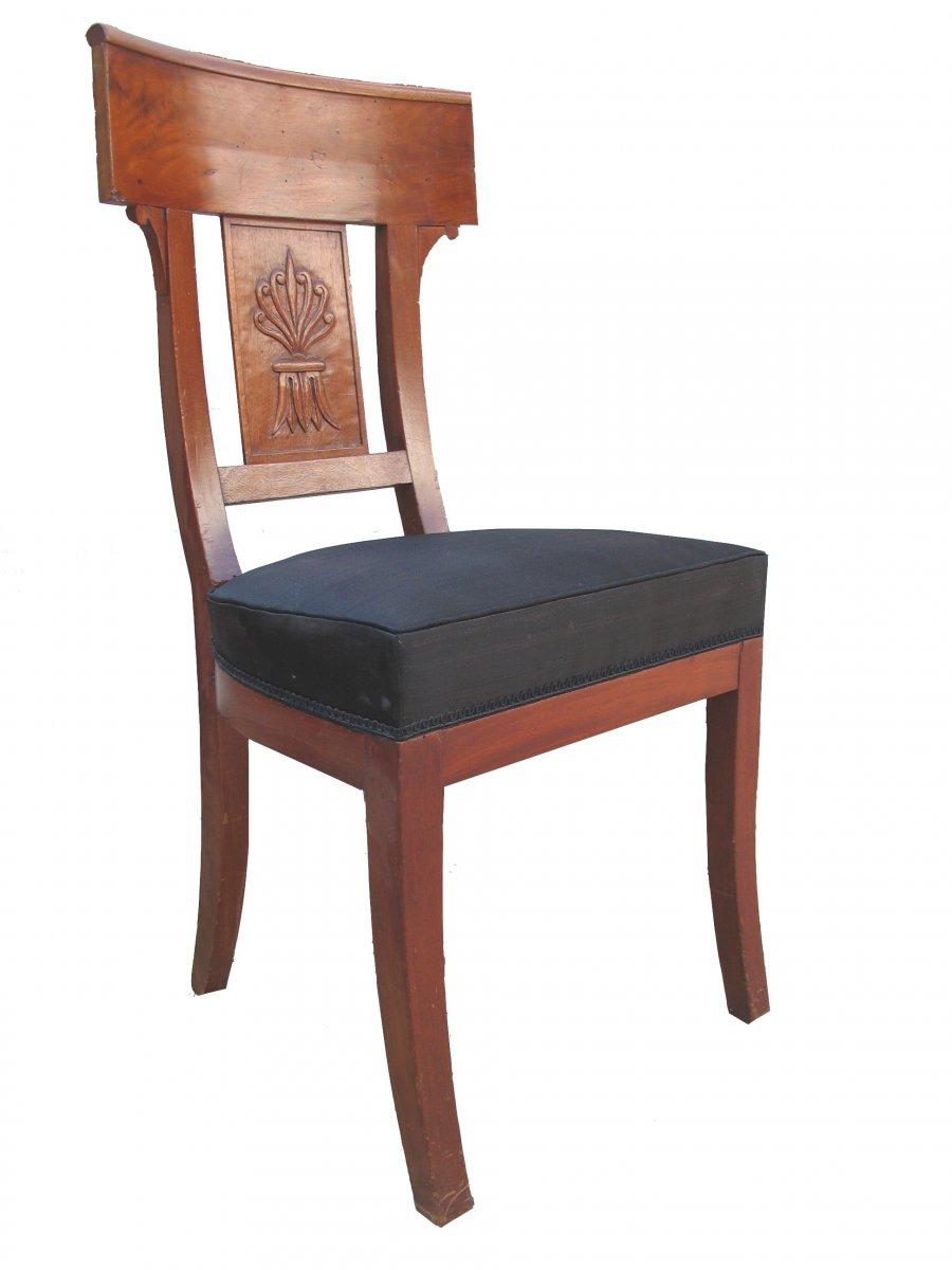 Suite de quatre chaises en acajou époque 1er Empire - XIXe
