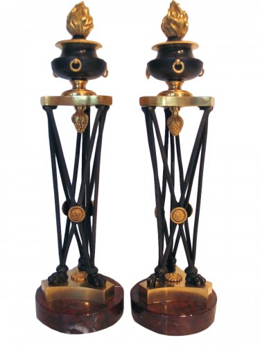 Pair of bronze candlesticks in Athenian circa 1800