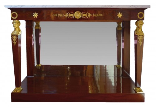 French console of the Consulat.period in mahogany and gilded bronzes
