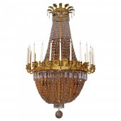 Large cut crystal chandelier of Empire period