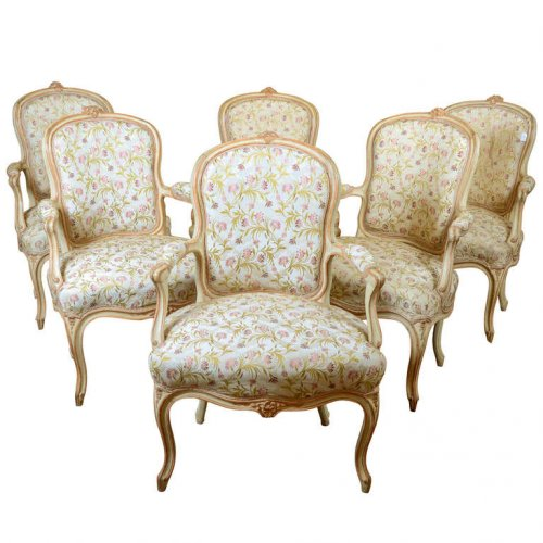 Set Louis XV cabriolet armchairs