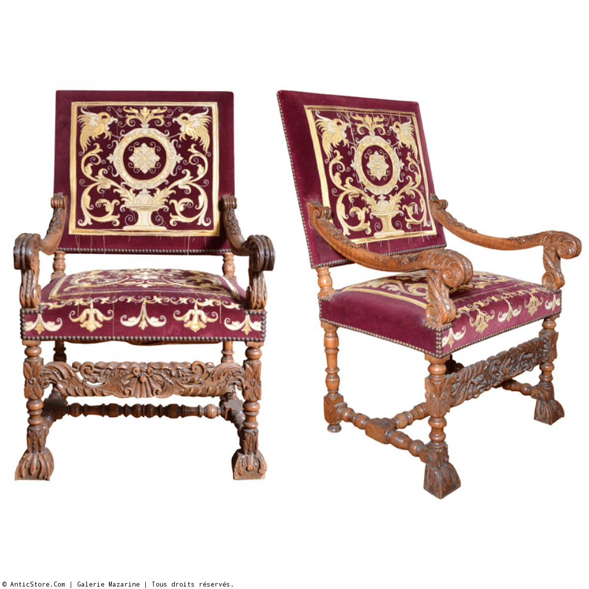 belle paire de grands fauteuils louis xiv xviie si cle. Black Bedroom Furniture Sets. Home Design Ideas