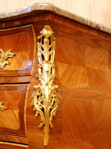 Furniture  - Louis XV Ormolu-Mounted Commode en Tombeau Stamped Dubut