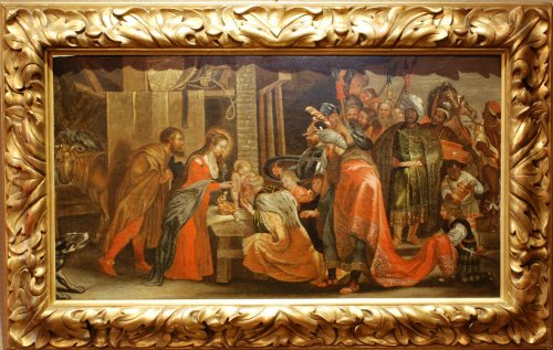 Adoration of the Magi Antwerp school 17th century - Paintings & Drawings Style Louis XIII