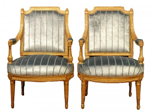 A fine pair of gildwood armchairs stamped A Gaillard