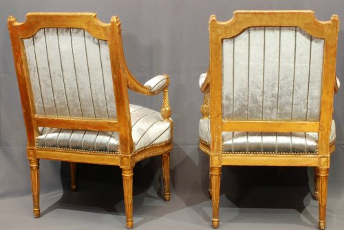 Seating  - A fine pair of gildwood armchairs stamped A Gaillard