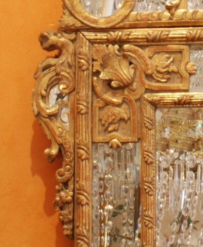 French Regence - A Régence carved and giltwood mirror