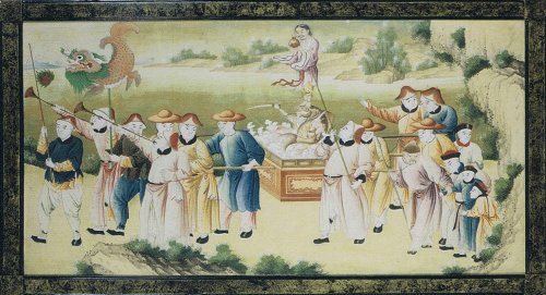 pair of wallpapers decorated with chinoiserie 18th century - Paintings & Drawings Style Louis XVI