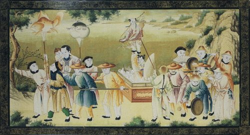 Paintings & Drawings  - pair of wallpapers decorated with chinoiserie 18th century
