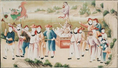 pair of wallpapers decorated with chinoiserie 18th century -