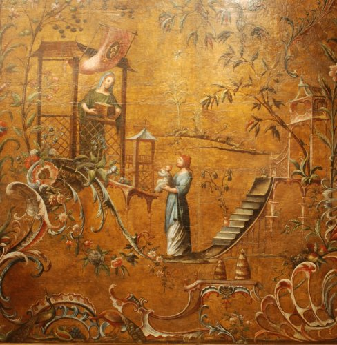 Large Leather pannel decorated with Chinoiserie, 18th century