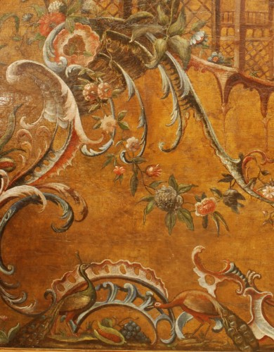 French Regence - Large Leather pannel decorated with Chinoiserie, 18th century