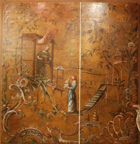 Antiquités - Large Leather pannel decorated with Chinoiserie, 18th century