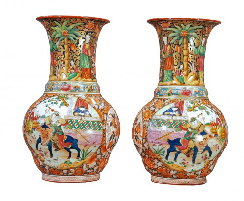 Pair of large porcelain vases decorated with chinoiserie