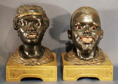 A Charles X couple of moorish figures -