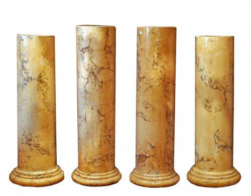 Two pairs of 19th century scagliola columns