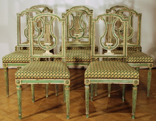 Eight Louis XVI style 19th century chairs