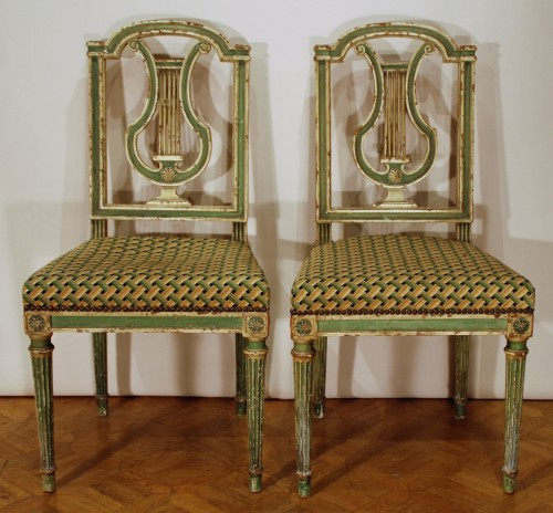 Seating  - Eight Louis XVI style 19th century chairs
