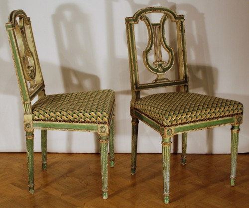 Antiquités - Eight Louis XVI style 19th century chairs