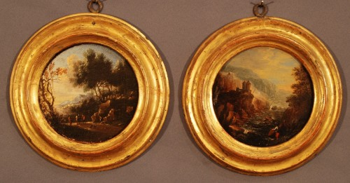 Pair of small tondos Italy 17th century