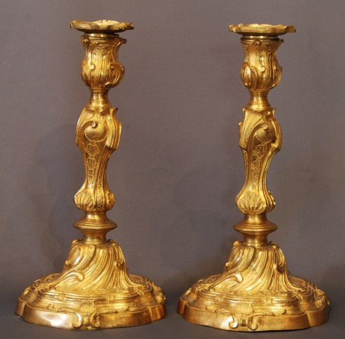 pair of Louis XV ormolu candlesticks - Louis XV