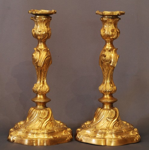 Louis XV - pair of Louis XV ormolu candlesticks