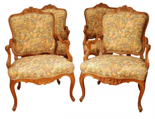 Four large armchairs Louis XV style 19th century