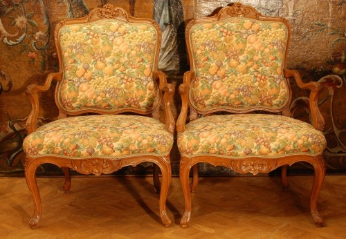 Four large armchairs Louis XV style 19th century - Seating Style