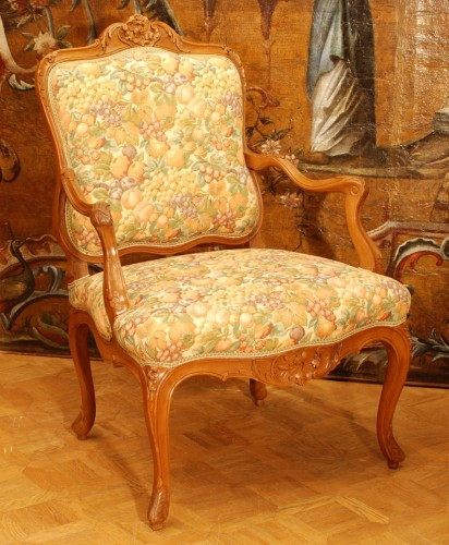 Seating  - Four large armchairs Louis XV style 19th century