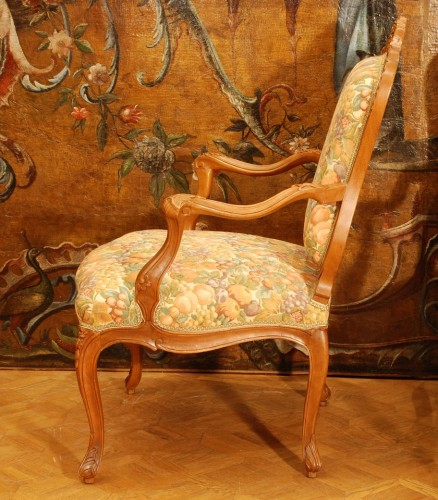 Four large armchairs Louis XV style 19th century -