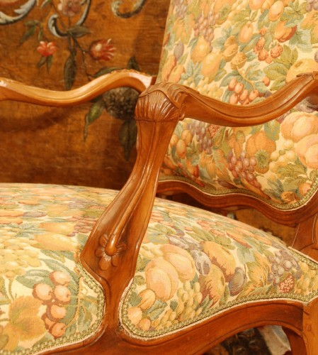 - Four large armchairs Louis XV style 19th century