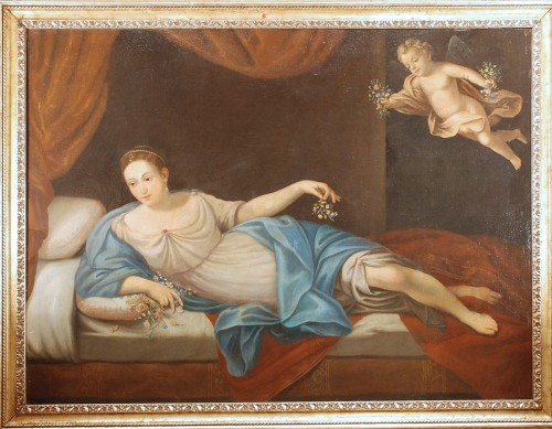 A large italian painting of Vénus and Cupidon 18th century