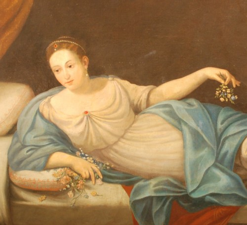 Antiquités - A large italian painting of Vénus and Cupidon 18th century