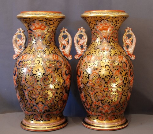 Porcelain & Faience  - Pair of Bayeux pocelain vases 19th century