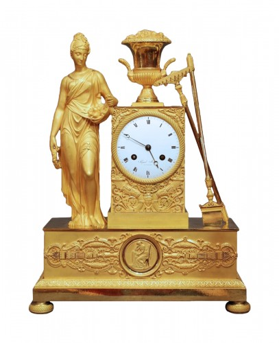 Flora. A french ormolu Empire period clock