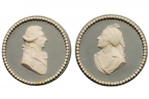 A french late 18th century pair of Sèvres medallions