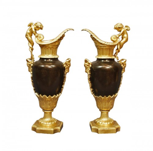 Pair of gilt and patinated Ewers 19th century
