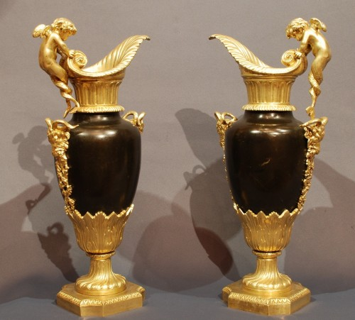 Pair of gilt and patinated Ewers 19th century - Decorative Objects Style Napoléon III