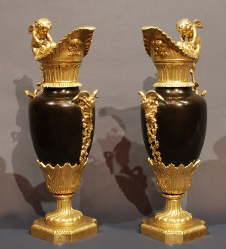 Pair of gilt and patinated Ewers 19th century -
