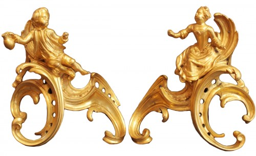 Pair of gilt bronze firedog , Louis XV period