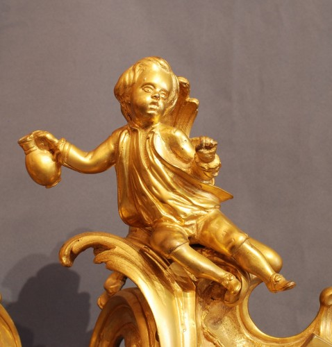 Pair of gilt bronze firedog , Louis XV period - Decorative Objects Style Louis XV