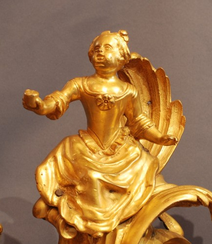 Decorative Objects  - Pair of gilt bronze firedog , Louis XV period