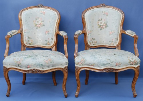 Set of six Louis XV period cabriolets - Seating Style Louis XV