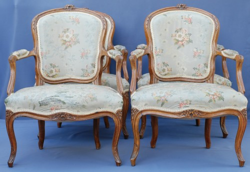 Set of six Louis XV period cabriolets - Louis XV
