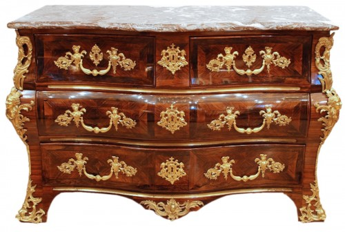 A French Louis XV ormolu mounted Commode en tombeau