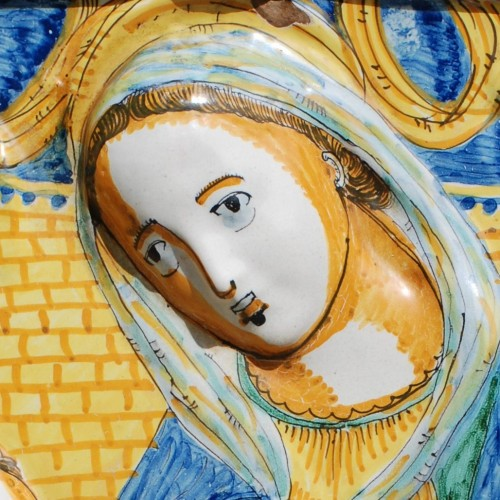 The Virgin and Jesus Deruta 17th century - Porcelain & Faience Style Louis XIII