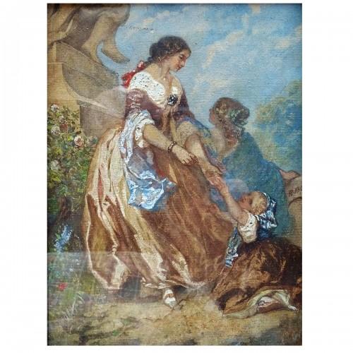 Henri Baron (1816-1885) - Family Scene in a Park